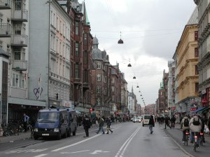 Norrebrogade, a central street in Norrebro. Image from da.wikipedia.org.