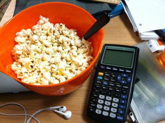This is how much 1/4 cup unpopped kernels yields. Time to do homework! Photo taken by yours truly.