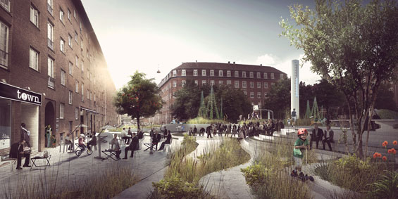 A rendering of greenspace-based water systems, based on solutions proposed by the Copenhagen Climate Adaptation Plan. Image from www.worldlandscapearchitect.com
