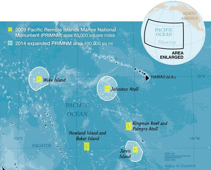 The Pacific Remote Islands Marine National Monument will now be nearly 490,000 square miles.