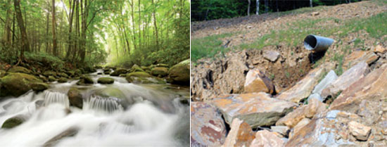 traditional mountain stream (left) compared to a stream diverted and buried in mountain debris (right), courtesy of Appalachian Voices