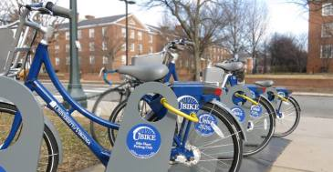 UBikes in front of the chemistry building. Photo from the UBike Facebook page.